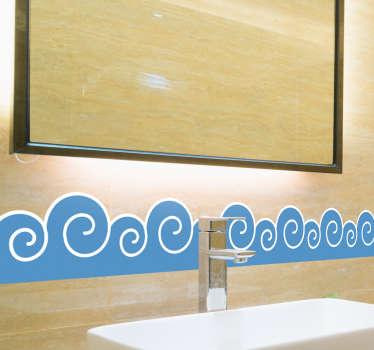 波浪浴室贴纸