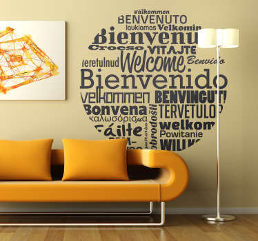 Wall Stickers - A circular design filled with words meaning welcome in different languages of the world.