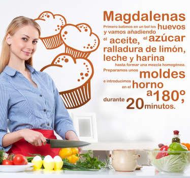 Adhesivo para tu cocina de doble uso: decorativo y práctico. Consulta todos los ingredientes necesarios para realizar un sabroso bizcocho.