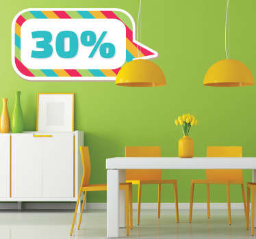 A customisable colourful sticker to promote deals, offers, sales and discounts that you are offering. Perfect to decorate your store!