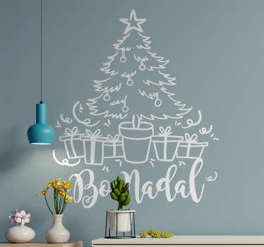 """Pegatina formada por el diseño de un árbol de Navidad acompañado del texto en gallego """"Bo Nadal"""". Descuentos para nuevos usuarios."""