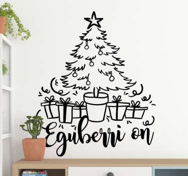 Vinilo de Navidad árbol Navidad en vasco