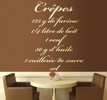 Wandtattoo französisches Rezept Küche