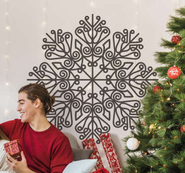 Wall decal of a Christmas mandala to decorate the home space .. A design on a round style with ornamental mandala .. Easy to apply on flat surface.