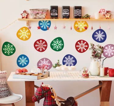 Decorative and easy to apply wall Christmas decal on round circles with ornamental flower on it in multi colours. You can buy it in any size you want.