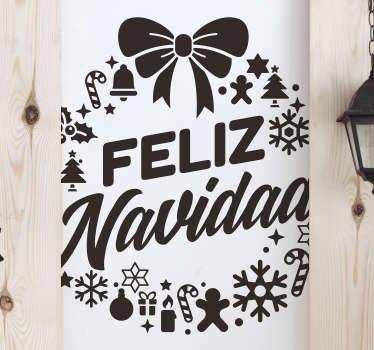 """Vinilo formado por el diseño de una original corona con el texto en su interior de """"Feliz Navidad"""". Compra Online Segura y Garantizada."""