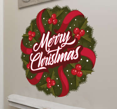 Decorative wall decal for Christmas design of a Christmas wreath on round background with styled ribbons , light bulbs  and text..'' Merry Christmas''