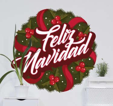 Pegatina navideña corona Feliz Navidad