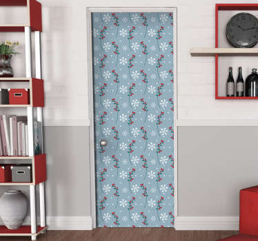 Christmas door vinyl decal with the features of snow flakes, flower ornaments in multi colour on a blues background in vertical style.