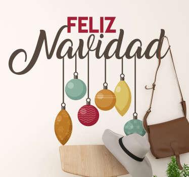 Diseño decorativo de el vinilo para pared de navidad de luces de navidad en diferentes colores que cuelgan del texto de navidad `` feliz navidad ''.