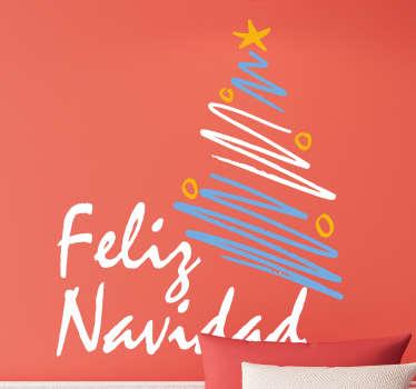 """Pegatina formada por el texto """"Feliz Navidad"""" y el dibujo de un árbol con los colores de la bandera Argentina. Promociones Exclusivas vía e-mail."""