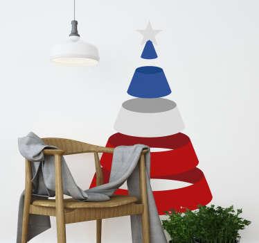 Vinilo adhesivo de pared navideño fácil de aplicar creado con una cinta multicolor, enrollado en estilo que forma un árbol de navidad. Fácil de colocar.