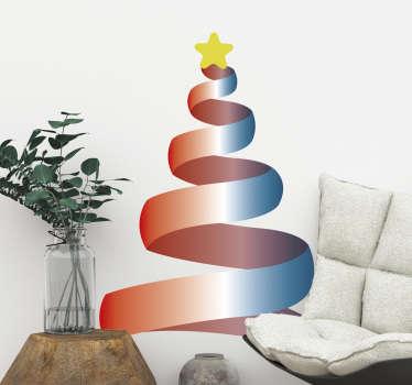 Vinilo decorativo autoadhesivo de Navidad creado con un árbol al estilo de una cinta enrollado y una estrella en su pico para formar un árbol.