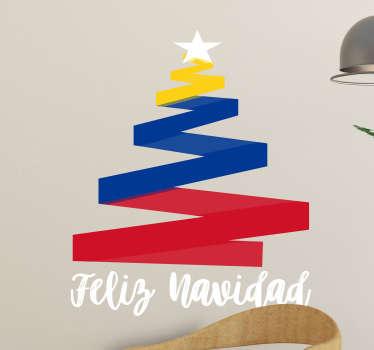 Vinilo formado por la ilustración abstracta de un árbol de navidad con los colores de la bandera colombiana. Compra Online Segura y Garantizada.