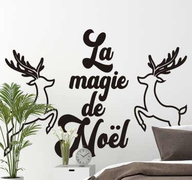 Sticker Vitre Noel dessin cerfs