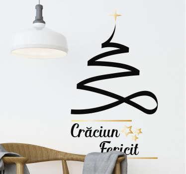 Autocolant de perete de crăciun al unui copac proiectat cu linii precum o cravată rulată în stil pentru a forma forma unui copac de crăciun cu o stea la vârf și text.