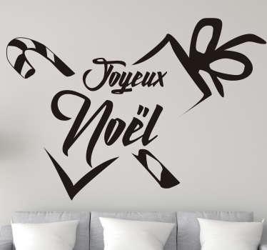 Sticker mural joyeux noel en forme de cadeauxavec couleur personnalisable. Fetez aussi vite que possible! Achetez maintentant!