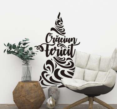 Autocolant de perete pentru decorarea de crăciun a textului mesajului de crăciun în stil minunat de font, cu caracteristici speciale montate împreună pentru a forma un copac.