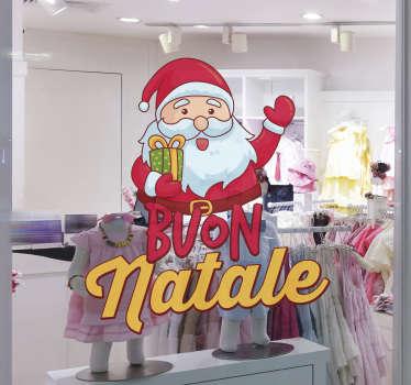 Vetrofania babbo natale per decorare la vetrina del tuo negozio nel periodo natalizio . Applica questo adesivo buon natale nella porta d'ingresso.