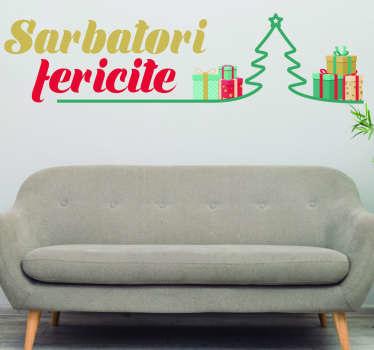 Decal de perete decorativ pentru crăciun proiectat cu desen de brad de crăciun în stil, cutii de cadouri colorate și text de mesaj frumos de sărbători.