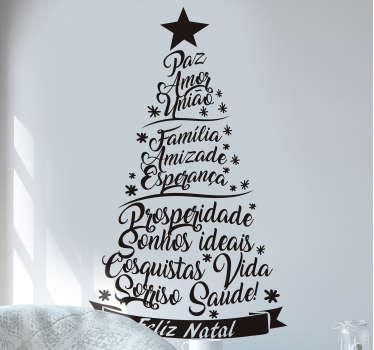 Autocolantes de Natal Árvore Palavras de Esperança