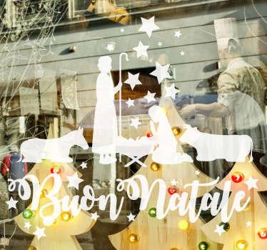 Un adesivo natalizio presepe adatto a decorare finestre, porte e pareti di tutti gli spazi comuni, festeggiamo la natalità tutti insieme. +50 colori