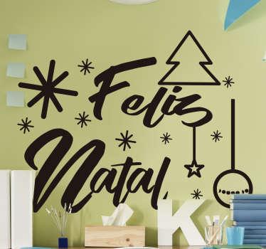 """Sublime autocolante decorativo de Natal onde a frase """"Feliz Natal"""" se faz acompanhar de outros adornos típicos desta época!"""