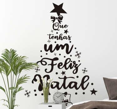 Pinheiro feliz natal pt vinis decorativos de natal desenhado com texto em fonte adorável montado com características de estrelas, enfeites e recurso para uma árvore.