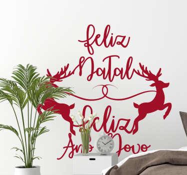 Autocolantes decorativos de Natal Renas Feliz Natal