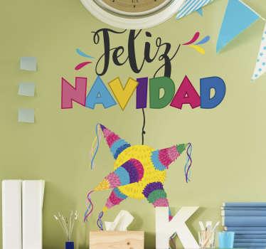 """Pegatina formada por el texto de """"Feliz Navidad"""" acompañado de una piñata típica de la tradición mexicana. +10.000 Opiniones satisfactorias."""