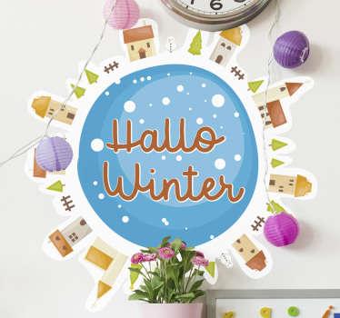 Mooi ontwerp van een kerst sticker voor thuis die voor iedereen geschikt is en is er voor bedoeld om aan te wijzen dat de winter gaat beginnen.