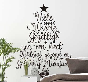 Kerststickers boom met tekst nieuwjaar