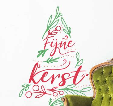 Kerststickers boom in groen en rood