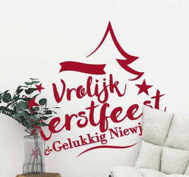 Kerststickers tekst feestdagen eigen kleur
