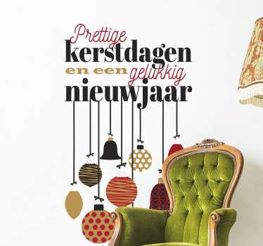 Een prachtige tekst raamsticker om uw huis mee te decoreren. Deze decoratie bestaat uit de tekst: prettige feestdagen en een gelukkig nieuwjaar.