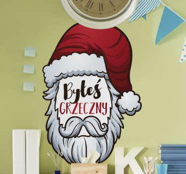 Świąteczna naklejka na ścianę z Mikołajem. Produkt bardzo wysokiej jakości z matowym wykończeniem. Dostępne różne rozmiary.