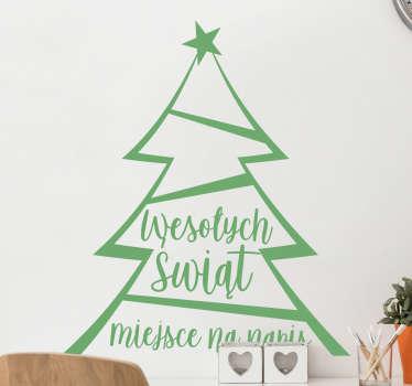Naklejka świąteczna z choinką to fantastyczny sposób na ozdobienie Twoich ścian, mebli, a także wszelkiego rodzaju akcesoriów. Wesołych Świąt!