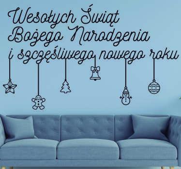 Naklejka ścienna z życzeniami do dekoracji powierzchni ściany w domu i cieszenia się tą piękną porą roku. Matowe wykończenie.