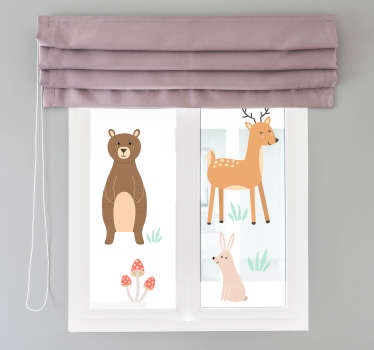 Decorative window vinyl decal for kids room created with forest animals like thedear, rabbit and plants in beautiful colours to make kids happy..
