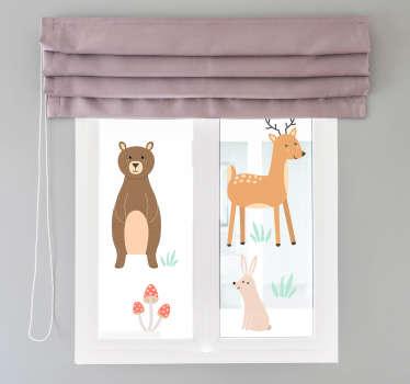 Vinilo decorativo de ventana para habitación infantil creado con animales del bosque como el querido, conejo y plantas en hermosos colores para hacer felices a los niños.