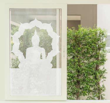 Leicht anzubringender Fenster Aufkleber des buddhistischen sitzens und meditierens mit einer runden dekorativen runden oberfläche um ihn herum. Sie können es in jeder farbe kaufen.