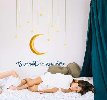 Quanta eleganza e quanta raffinatezza.Un'illustrazione adesiva buonanotte e sogni d'oro che certamente accompagnerà nel sonno i tuoi preziosi bambini.