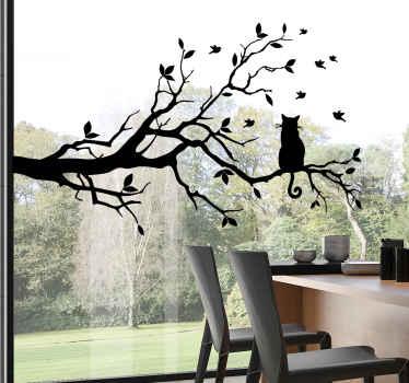 Fantástico vinilo de árbol para ventana o cristalera con un gato en la rama que puedes comprar online para decorar tu casa de forma original.