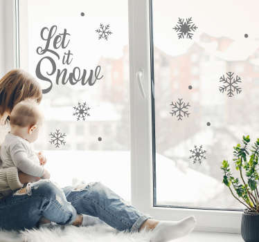 Decorative window decal with text '' let it snow'' in a lovely text style with ornamental plant suitable for any window surface the home.