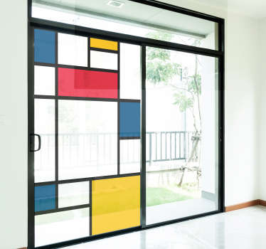 Easy to apply window vinyl sticker created with multi colour shapes of square and rectangles  and positioned on a horizontal and vertical position.