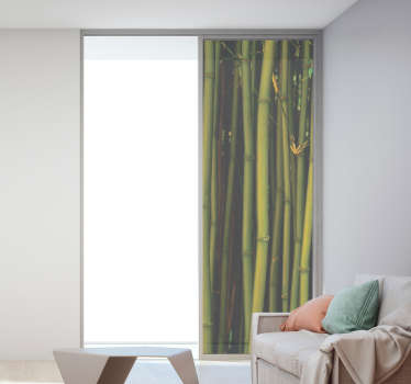 window mural sticker of a bamboo tree plant with a nice reveal of it features like the stem and nodes in green natural colour.