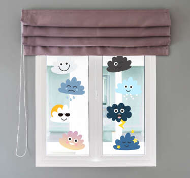 Clouds with faces kids wall art