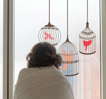 Birds in cage bird sticker