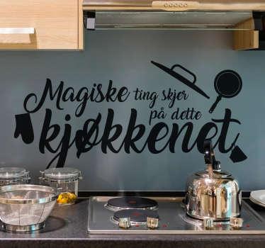 Fantastisk veggtekst-klistremerke som passer bra på kjøkkenet ditt. Denne teksten vinyl klistremerke er tilgjengelig i 50 forskjellige farger og tilpassede størrelser!