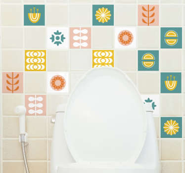 Turn your bathroom in your favourite part of the house with this beautiful bathroom tiles sticker with different images and colors!
